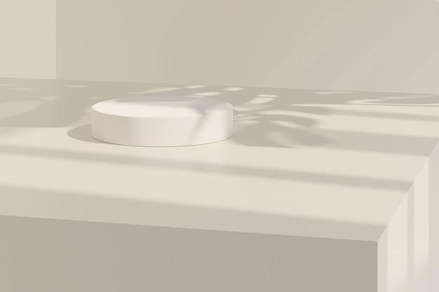 Бежевая пастельная цилиндрическая подставка или тумбочка для изделий с тенью листьев монстеры. 3d-рендеринг в минималистском стиле.