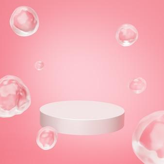 파스텔 핑크색 배경에 거품이 있는 제품 또는 광고를 위한 베이지색 연단 또는 받침대, 3d 렌더