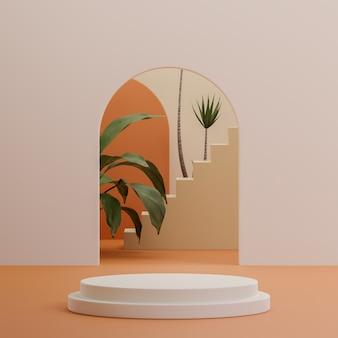 제품 배치 3d 렌더링을위한 열대 장면이있는 베이지 색 연단 무대 스탠드