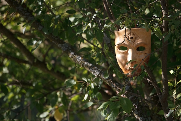 Beige realistic papiermache mask with sun symbol on forehead hanging in green branches of tree