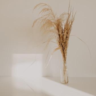 아늑한 집에서 흰색 테이블 전년도 흰 벽에 작은 유리 꽃병에 베이지 색 갈대