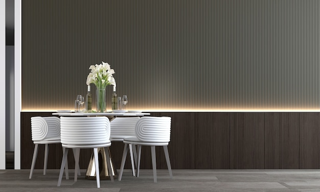 Beige room interior,minimal dining room interior , empty wood pattern wall, 3d rendering