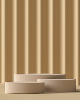 Beige three cylindrical plinth in beige scene corrugated panel background, minimal mockup background for branding and product presentation. 3d rendering