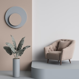 Beige tufted armchair in interior with copy space