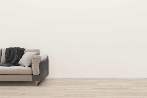 Beige wall brown sofa wooden floor interior living room background