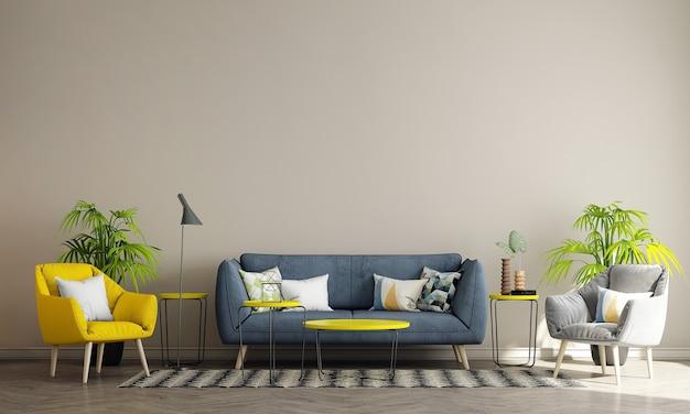 ベージュの壁のリビングルームにはソファと装飾があり、インテリアのモックアップ、3dレンダリング