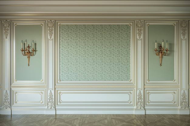 Beige wall panels in classical style with gilding. 3d rendering