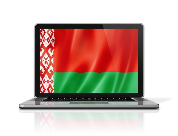 Флаг беларуси на экране ноутбука, изолированные на белом. 3d визуализация иллюстрации.