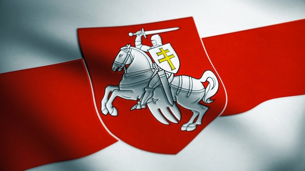 Флаг свободы беларуси. размахивая флагом беларуси текстуры ткани. оружие