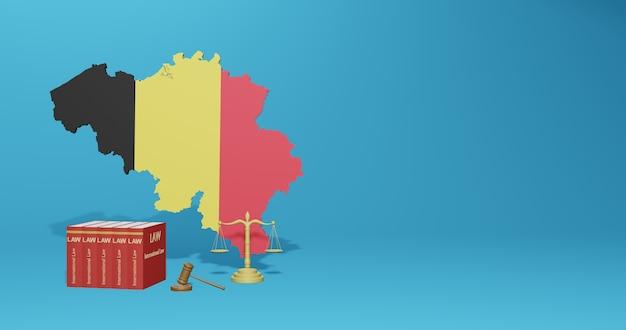 インフォグラフィック、3dレンダリングのソーシャルメディアコンテンツに関するベルギーの法律