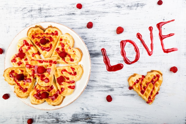 Belgian heart shaped waffle on white