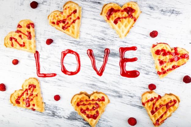 Belgian heart shaped waffle on white