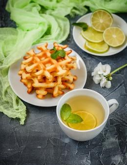 Belgian waffles and green tea.