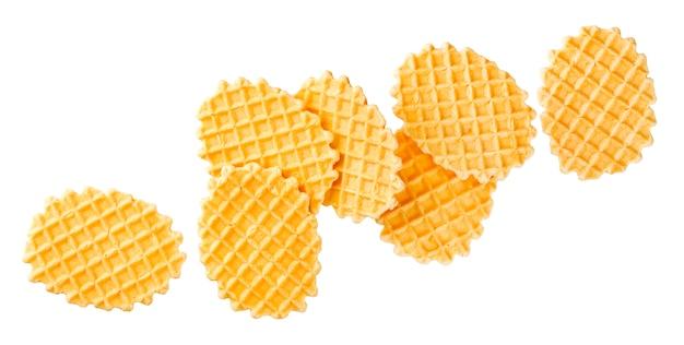 Belgian waffles isolated on white