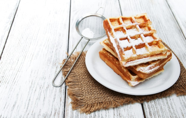 Belgian waffles on the table