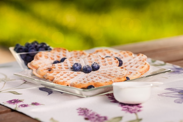 Belgian waffles taste the best with blueberry