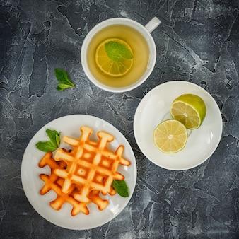Belgian waffles and tea.