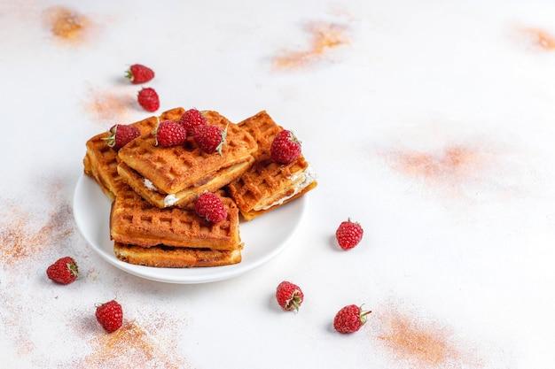 Belgian waffles with cream and fresh raspberries.