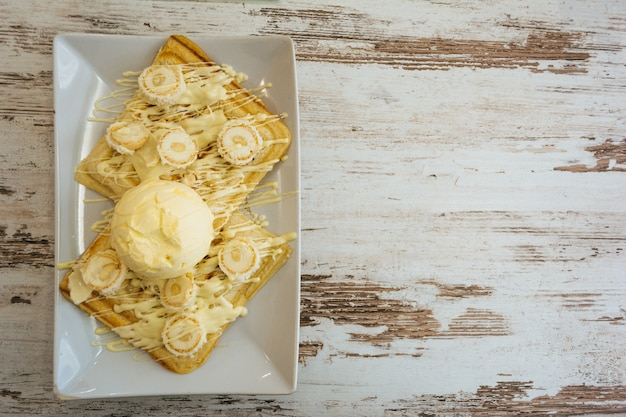 Belgian waffles with melted white chocolate