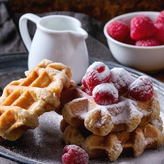 Belgian waffles with raspberries