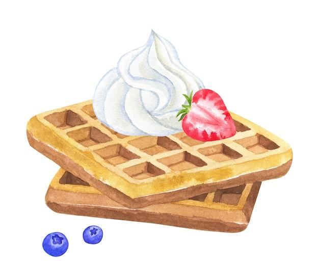 ホイップクリームとストロベリーとブラックベリーのベルギーワッフル。手描きの水彩イラスト。孤立。