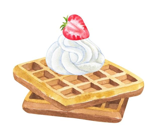 ホイップクリームとイチゴのベルギーワッフル。手描きの水彩イラスト。孤立。