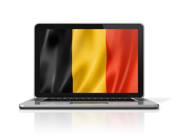 Belgium flag on laptop screen isolated on white. 3d illustration render.