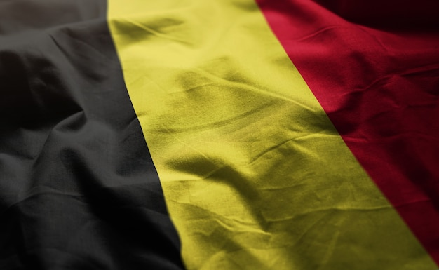 Belgium flag rumpled close up