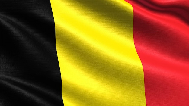 Belgium flag, with waving fabric texture