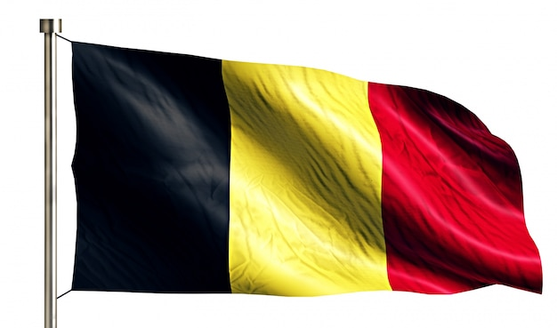 Belgium national flag isolated 3d white background