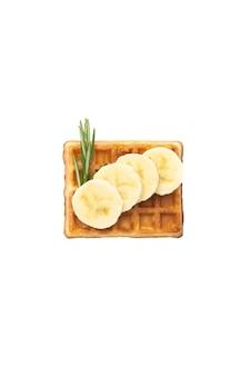 흰색 격리된 배경에 시럽을 곁들인 바나나와 로즈마리를 곁들인 벨기에 와플