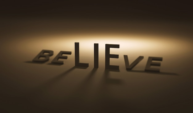 어둠과 믿음에 대한 거짓말을 믿습니다. 거짓말 또는 신뢰. 현실적인 3d 렌더링.
