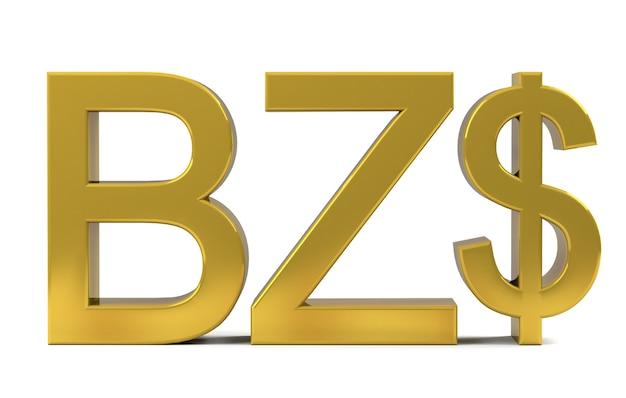 Цвет золота символов знака валюты доллара белиза изолированный на белой предпосылке. 3d-рендеринг.
