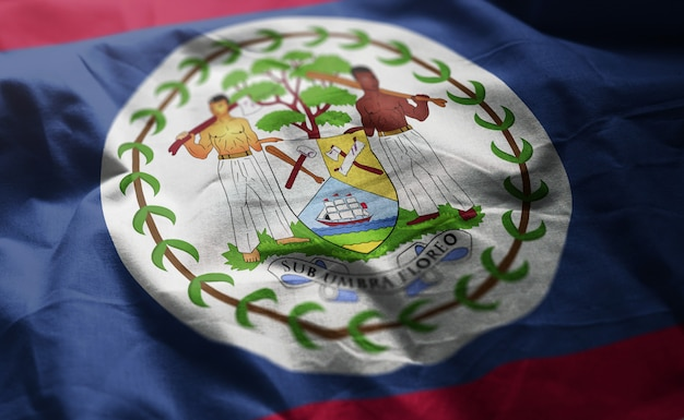 Belize flag rumpled close up