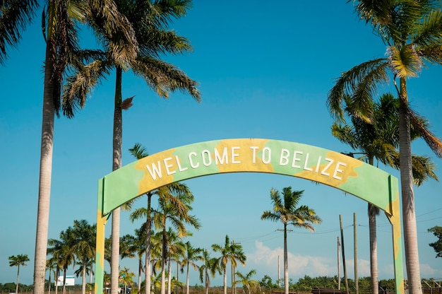 Belize, welcome sign