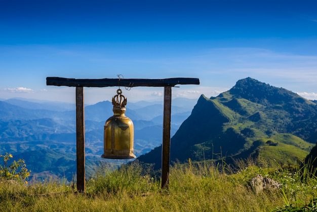 Bell on doi pha tang viewpoint ,chiang rai province in thailand.  beautiful location