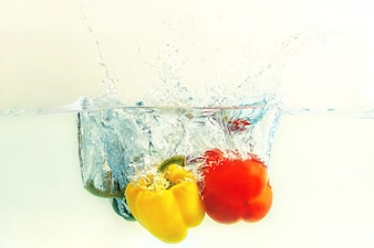 Bell pepper  falls in water