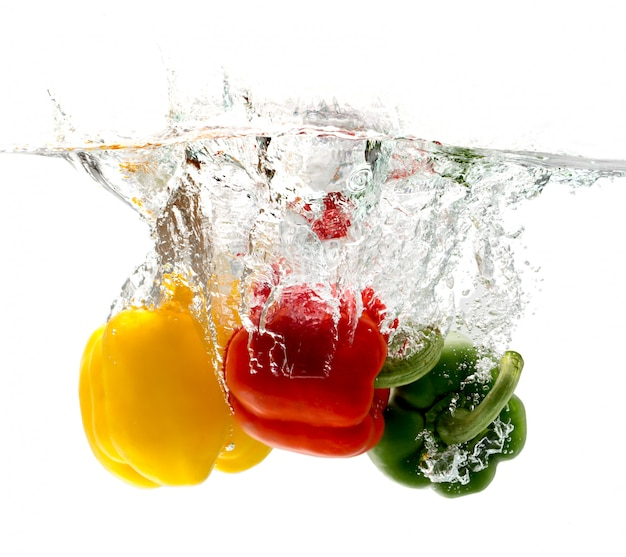 Bell peppers falling into the water looks so fresh.