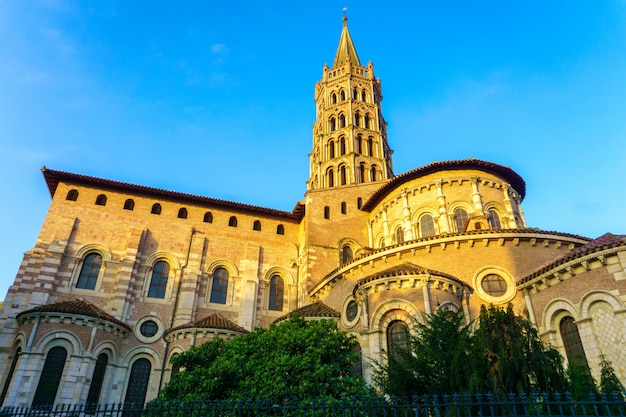 The bell tower of the basilica of saint sernin, toulouse, france