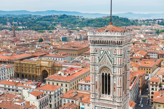 Bell tower of  cathedral church santa maria del fiore, florence, italy