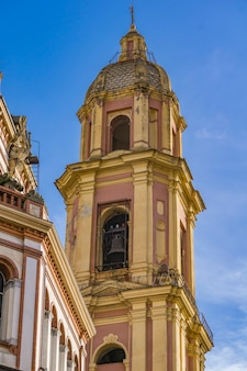 Bell tower and dome of the basilica of san gervasio e protasio in rapallo, italy