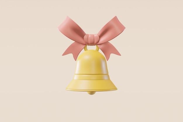 Колокольчик с лентой на светло-бежевом фоне в мультяшном стиле. концепция иллюстрации для рождественской открытки, поздравление, приглашение. 3d рендеринг