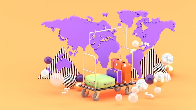 Посадочная тележка среди карты мира и разноцветные шарики на оранжевом. 3d-рендеринг.