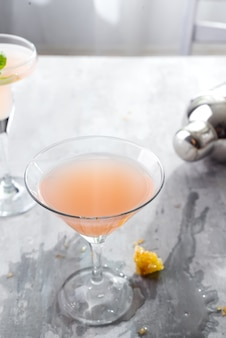 Bellini cocktail with peach and honey