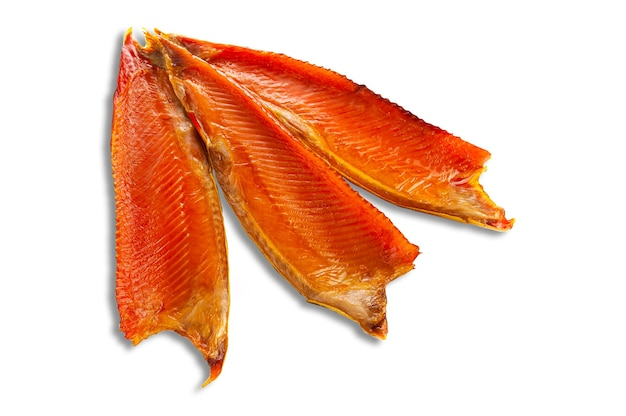 The belly of the atlantic salmon. smoked. white background. isolated.