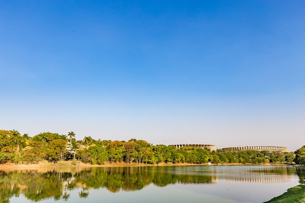 Belo horizonte, minas gerais, brazil. view of pampulha lake in a beautiful sunny day and blus sky