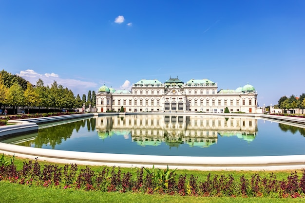 Belvedere palace, south facade, view from the pond in vienna.