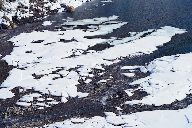 Benasque frozen reservoir paso nuevo in pyrenees