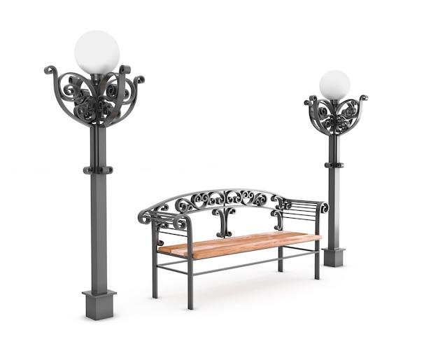 Скамейка и две лампы на белом. 3d визуализация иллюстрации.