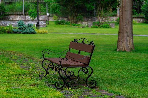 緑の芝生の上の公園のベンチ
